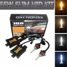 9007 55W 3200lm 6000K Diamond White Car HID Xenon Lamps w/ Ballasts Kit (Pair)