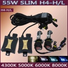 H4 55W 3200lm 6000K Car HID Xenon Lamps w/ Ballasts Kit (Pair)