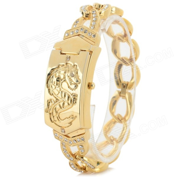 Women's China Dragon Style Alloy Band Analog Quartz Wrist Watch - Golden (1 x 377) stylish bracelet band quartz wrist watch golden silver 1 x 377