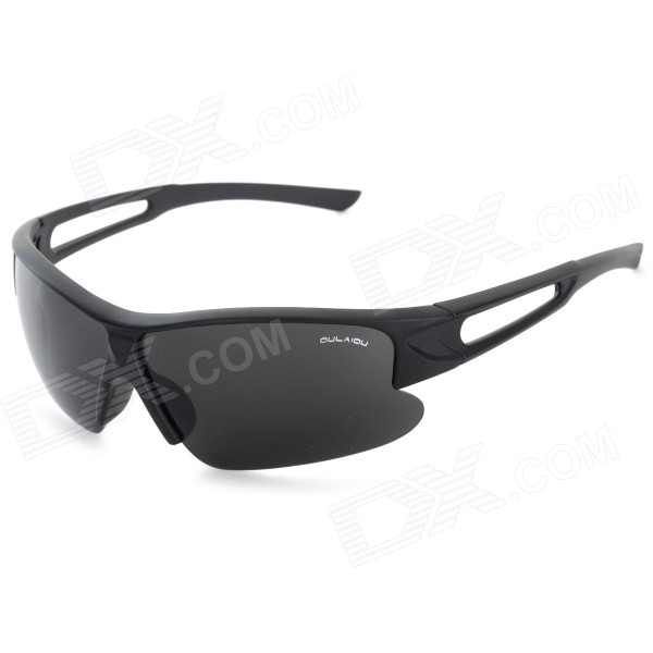 OULAIOU Men\'s Outdoor Cycling Plastic Frame PC Lens UV400 Sunglasses - Black