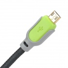 USB Male to Micro USB Male Data Charging Nylon Cable for HTC / Samsung - Black + Grey (1.3m)