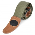 Adjustable Cotton + Leather Guitar Strap (Green)