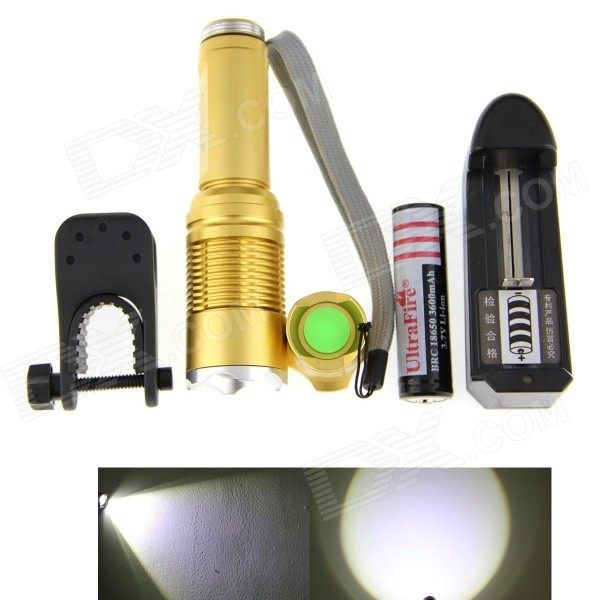 UltraFire JG-5 800lm 5-mode White Zooming Flashlight Set - Gold (1 x 18650) plastic box packing led flashlight set 2x18650 high power 5000 lumens cree xml t6 led torch lamp charger battery bike holder
