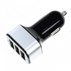 Universal 3 USB Ports Car Charger Adapter - Black + Silver