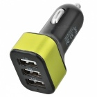 Universal 3 portas USB Car Charger Adapter - Preto + Verde