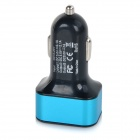 Universal 3 USB Ports Car Charger Adapter - Black + Blue