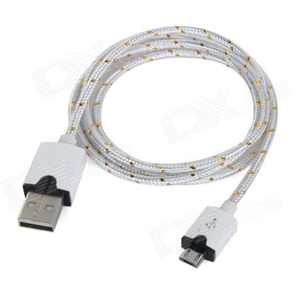 Micro USB Male to USB Male Braided Round Nylon Charging Data Cable - White (1m) usb male to micro usb male data charging cable for samsung htc sony xiaomi lg more black