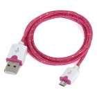 Micro USB Male to USB Male Braided Round Nylon Charging Data Cable - Deep Pink + White (1m)