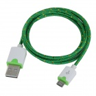 Micro USB Male to USB Male Braided Round Nylon Charging Data Cable - Green + White (1m)