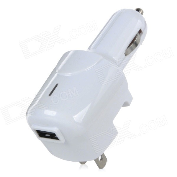 CJIP-03A USB US Plug Car / Home Use Charger Power Adapter for IPHONE / IPOD / Samsung + More - White