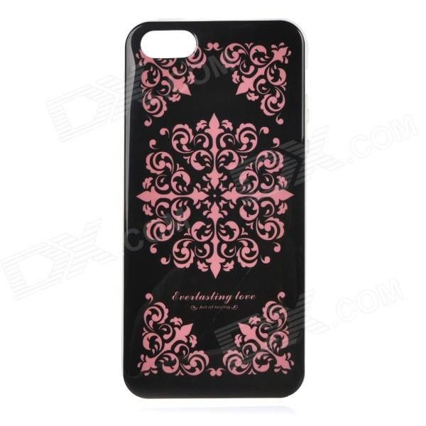 Protective Patterned TPU Back Case Cover for IPHONE 5 / 5S - Black + Pink tpu imd patterned gel cover for iphone 7 4 7 inch dream catcher