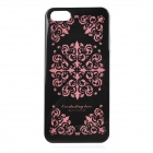 Protective Patterned TPU Back Case Cover for IPHONE 5 / 5S - Black + Pink