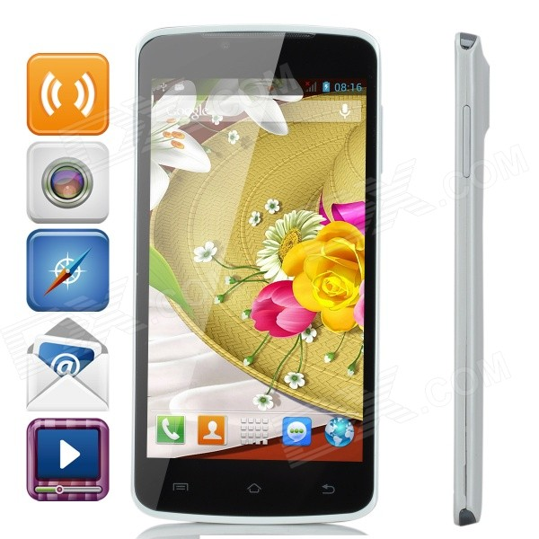 P8 Android 4.2.2 MTK6572 Dual-Core WCDMA / GSM Bar Phone w/ 5.0 IPS, 512MB RAM, 2.58GB ROM, Wi-Fi p8 5 0 screen android 4 2 2 dual core wcdma gsm 3g smart phone w dual sim wi fi black