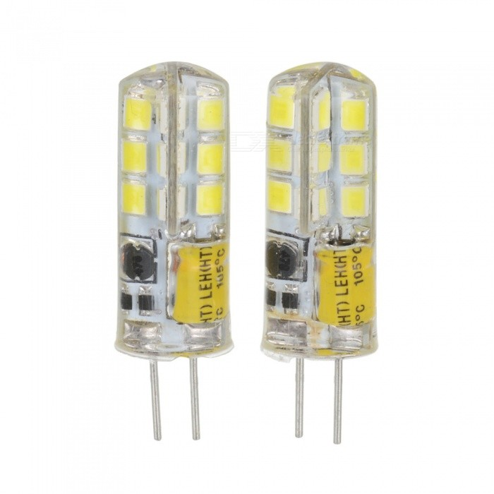 3W 170lm 24-SMD 2835 LED Cool White Crystal Lamps - White + Beige (2 PCS / AC/DC 12V)