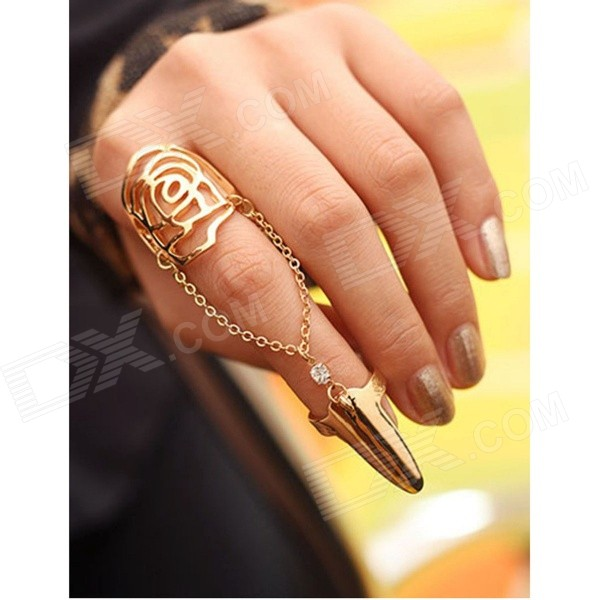 Women's Fashionable Hollow-out Rhinestone-studded Rose Patterned Conjoined Nail Ring - Golden