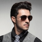 Reedoon 6488 Men's Fashionable Resin Lens UV400 Protection Polarized Sunglasses - Silver + Tawny