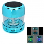 Mini Cylinder Shaped Bluetooth V2.0 Speaker w/ FM / TF / Mini USB / USB - Blue + Black + Transparent