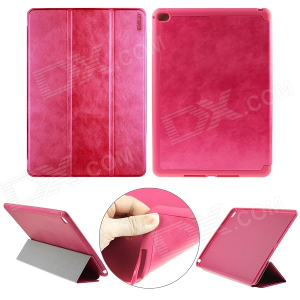 ENKAY PU Leather Full Body Case w/ 3-Fold Stand / Auto Sleep / Wake-up for IPAD AIR 2 - Deep Pink wood pattern protective pu full body case w stand auto sleep for ipad air dark red pink