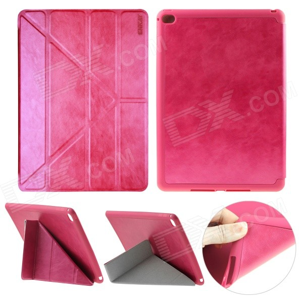 ENKAY PU Leather Full Body Case w/ Stand / Auto Sleep / Wake-up for IPAD AIR 2 - Deep Pink wood pattern protective pu full body case w stand auto sleep for ipad air dark red pink