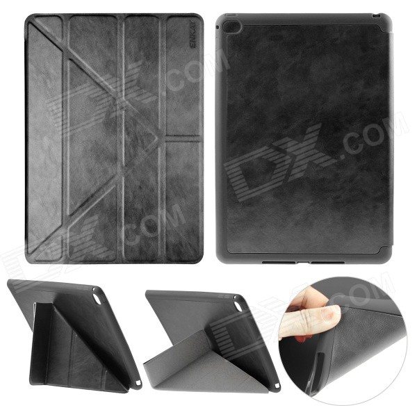 ENKAY Protective PU Leather Full Body Case w/ Stand / Auto Sleep / Wake-up for IPAD AIR 2 - Black клип кейс icover glossy для apple iphone 7 розовый
