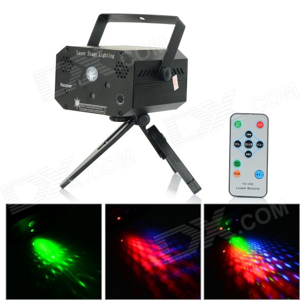 UltraFire YX-033 532mW Green + 660mW Red Laser Stage Lighting Projector w/ R/C - White + BlackStage Lights<br>Form ColorWhite + Black + Multi-ColoredBrandUltraFireModelYX-033MaterialAluminum alloyQuantity1 DX.PCM.Model.AttributeModel.UnitShade Of ColorBlackPattern TypeLaser point, five-pointed star, circle, flowers, etc.Wave Band Range532mW Green + 660mW RedWork Mode532mW Green + 660mW RedTotal Power52 DX.PCM.Model.AttributeModel.UnitPower AdapterEU PlugPowered ByOthers,Power cordCertificationCEPacking List1 x Laser stage Lighting1 x Power adapter (EU plug / 110cm-cable)1 x Chinese / English user manual1 x U disk1 x Bracket1 x Remote control (1 x CR2025, included)<br>