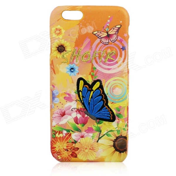 Embroidery Butterfly Pattern PC Back Case for IPHONE 6 4.7 - Light Yellow + Blue + Multi-Color retro style cards slot wallet bag smart cover pu leather case for ipad mini 4 3 2 1 im426