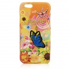 "Embroidery Butterfly Pattern PC Back Case for IPHONE 6 4.7"" - Light Yellow + Blue + Multi-Color"