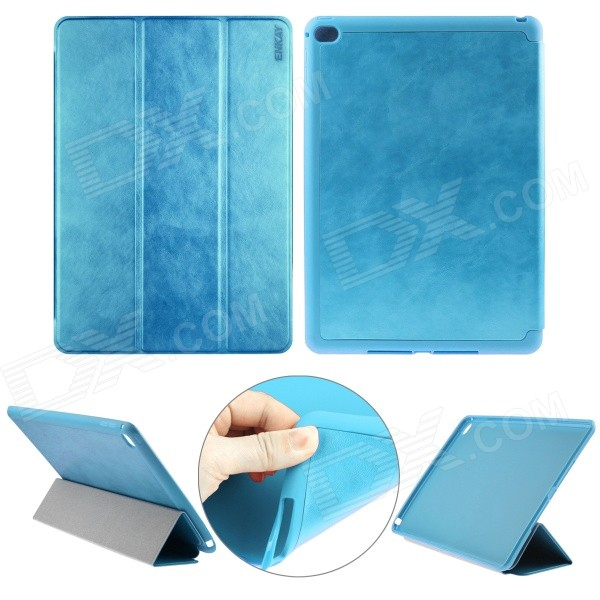 ENKAY Auto Sleep & Wake-up Designed Protective Case w/ 3-Folds Stand for IPAD AIR 2 - Blue enkay 360 degree rotation protective case w stand auto sleep for ipad air 2 deep blue