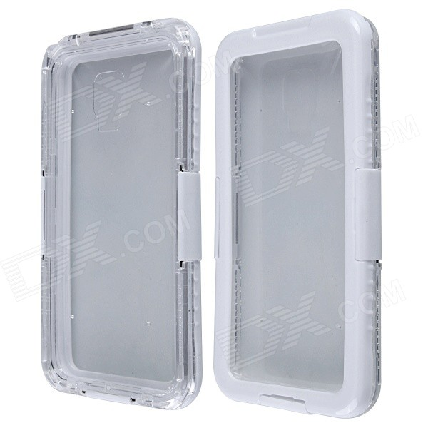 Aoluguya Waterproof Shockproof Anti-slip PC Case for Samsung Note 2/3/4 - White + Transparent