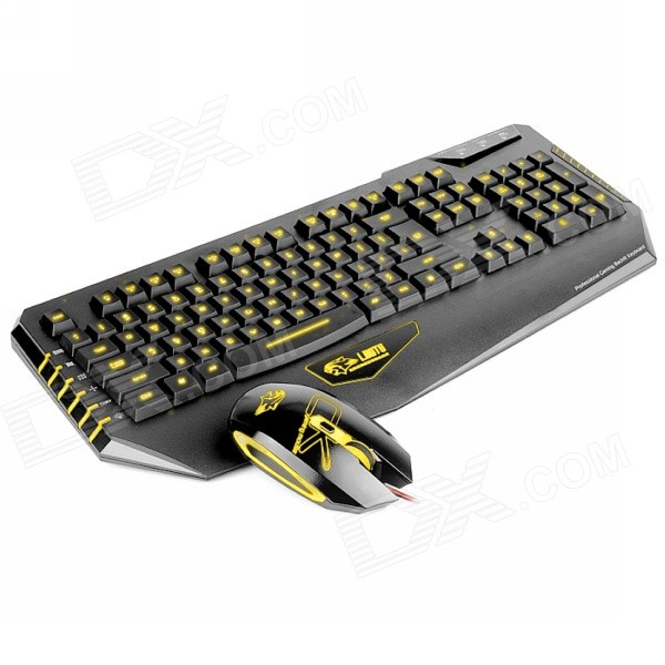Dare-u 2000-DPI USB Wired 3-Color LED Backlighting Gaming Mouse & Gaming Keyboard Combo Set genius g7 usb wired 112 key gaming keyboard 6d mouse combo