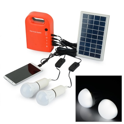 Multi-functional Portable Solar Powered Generator + 2 LED Bulbs + Solar Panel Set - Dull Red + Black