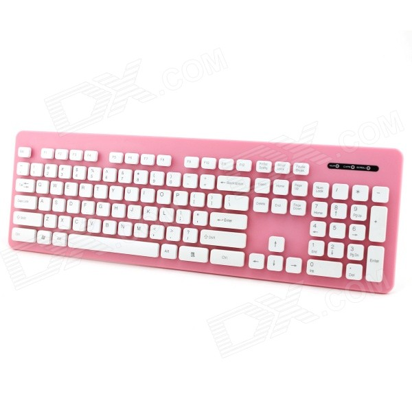 YDL-KT-610-2 USB 2.0 Wired 103-key Washable Keyboard for Laptop - Pink + White + Black diy oil level gauge with thermometer for motorcycle car silver