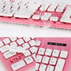 KT-610 USB 2.0 Wired 103-key Washable Keyboard for Laptop - Pink + White + Black