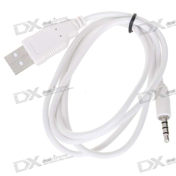 3.5mm Jack/Plug to USB Data Cable for Ipod Shuffle - White (100CM-Length) usb charger sync data cable for apple ipod shuffle gemix 3rd 4th 5th 6th generation 10cm