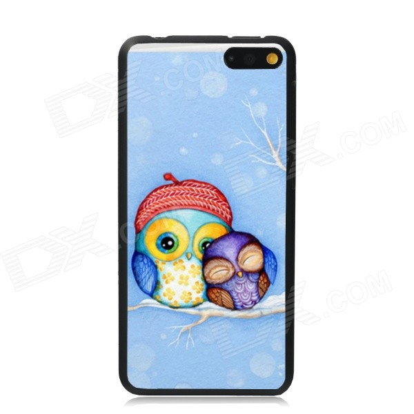 Elonbo Two Cute Owl Pattern Plastic Hard Back Case Cover for Amazon Fire Phone - Blue + Red elonbo the lovely deer mr plastic hard back case for amazon fire phone grey brown multi color