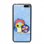 Elonbo Two Cute Owl Pattern Plastic Hard Back Case Cover for Amazon Fire Phone - Blue + Red