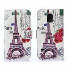 Hat-Prince Tower Pattern Protective Case w/ Card Slots for Samsung Galaxy S5 Mini - Multicolor