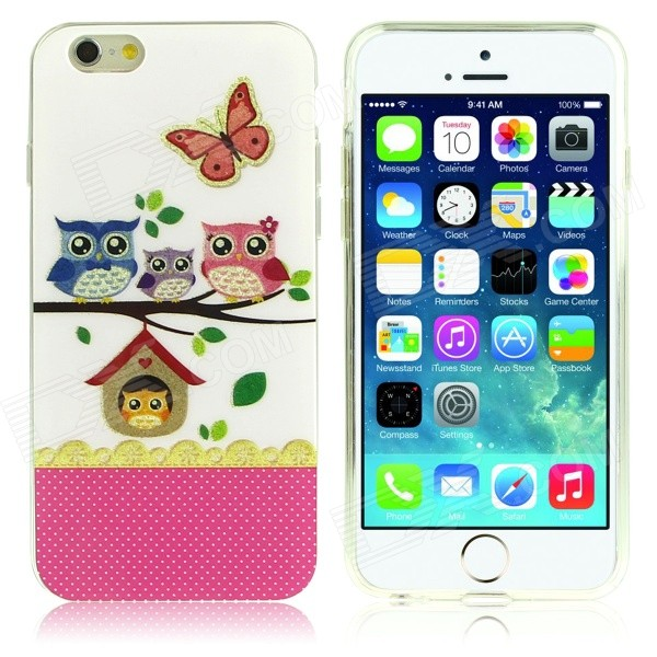 Owl Family Pattern Protective TPU Case for IPHONE 6 4.7 - Multicolored cat pattern protective pc back case for iphone 6 4 7 white pink multi color