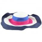 Women's Personalized Casual Beach Straw Hat - White + Blue + Multi-colored