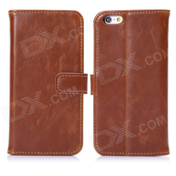 "Hat-Prince Protective PU Leather + Plastic Case w/ Stand and Card Slot for IPHONE 6 4.7"" - Brown"