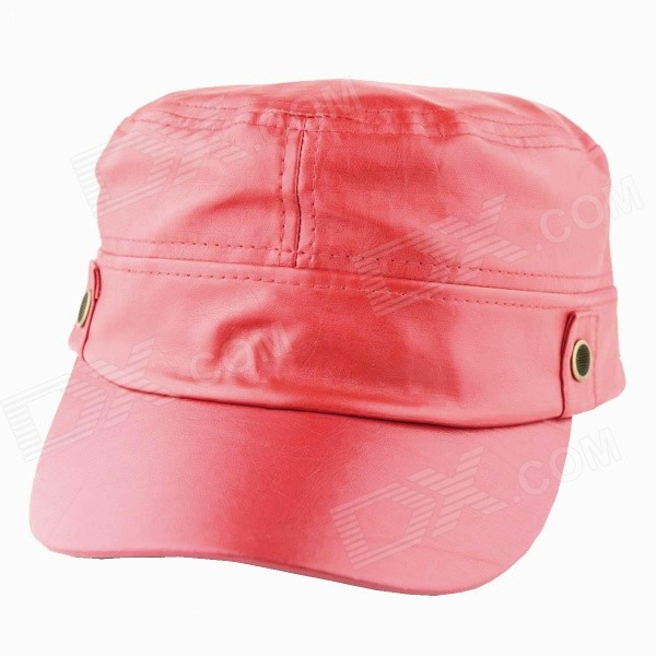 YUSHAN Fashionable PU Leather Flat-Top Hat Cap - Red cowboy hat cap cap flat top hat lace rhinestone flower hooded fashion tide cap cap riding hood