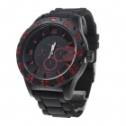 Super Speed V6 V0222 Men's Stylish Silicone Band Analog Quartz Wrist Watch - Black + Red (1 x LR626)