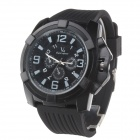 Super Speed V6 V0193 Men's Silicone Band Big Round Dial Quartz Watch - Black + White (1 x LR626)