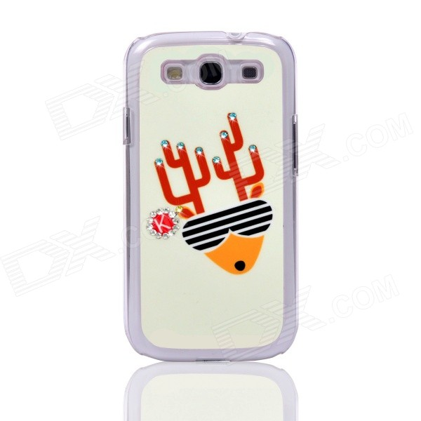 Christmas Deer Pattern Back Case for Samsung Galaxy S3 i9300 - White + Yellow 100x zoom microscope lens case w white 1 led light for samsung galaxy s3 i9300 black 3 x lr1130