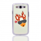 Christmas Deer Pattern Back Case for Samsung Galaxy S3 i9300 - White + Yellow