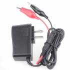 AC Power Charger Adapter + Alligator Clips Set - Black + Red (US Plug / 5.5 x 2.1mm)