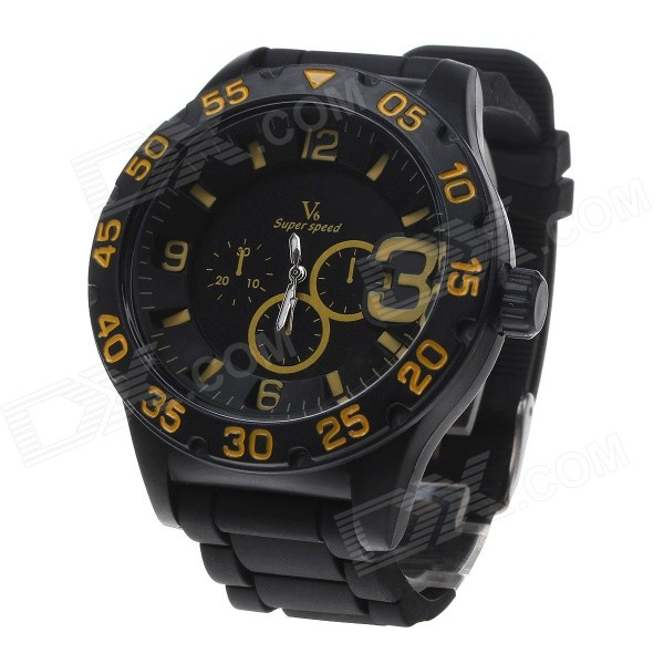 Super Speed V6 V0222 Men's Silicone Band Analog Quartz Wrist Watch - Black + Yellow (1 x LR626)