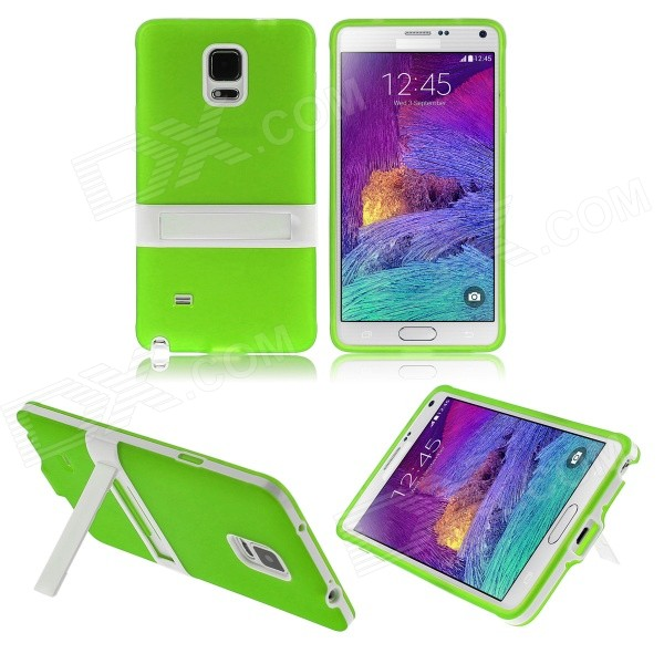 ENKAY Protective TPU Back Case Cover w/ Stand for Samsung Galaxy Note 4 N9100 - Green 2 in 1 detachable protective tpu pc back case cover for samsung galaxy note 4 black