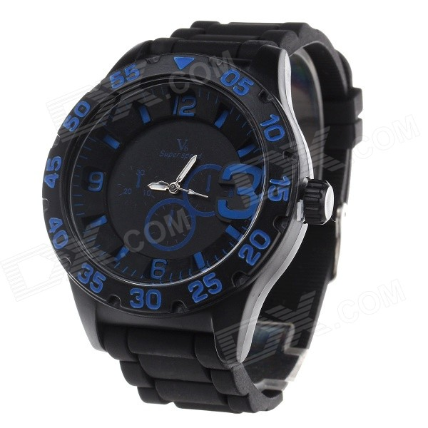 Super Speed V6 V0222 Men's Silicone Band Analog Quartz Wrist Watch - Black + Blue (1 x LR626)