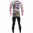 Paladinsport 088CT-XL Fargerike Scull Mønster Long-sleeve Cycling Jersey + Pants Set for menn - White
